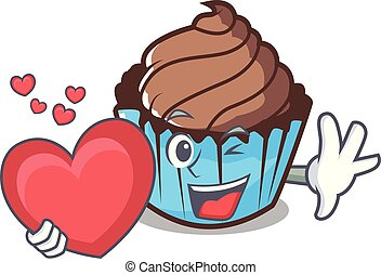 With heart chocolate cupcake mascot cartoon
