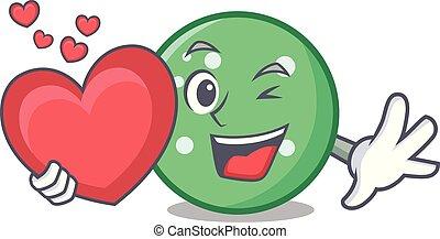 With heart circle mascot cartoon style