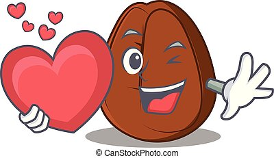 With heart coffee bean mascot cartoon