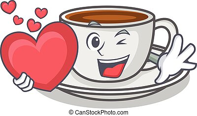With heart coffee character cartoon style