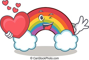 With heart colorful rainbow character cartoon