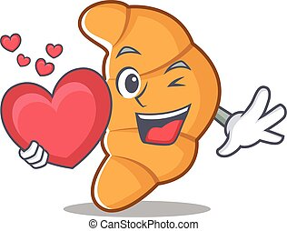With heart croissant character cartoon style