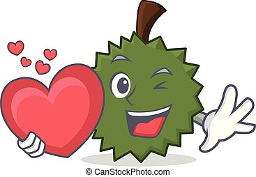 With heart Durian mascot cartoon style