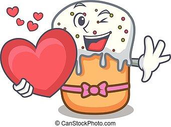 With heart easter cake mascot cartoon