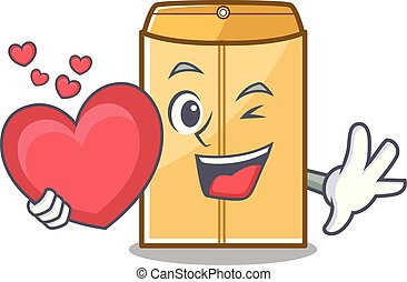 With heart envelope mailer in the mascot closet