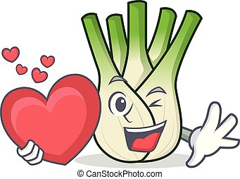 With heart fennel mascot cartoon style