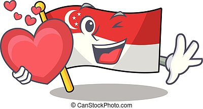 With heart flag singapore isolated with the character vector illustration