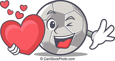 With heart football character cartoon style