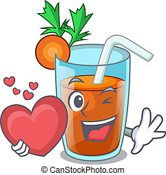 With heart fresh smoothie carrot in cartoon table