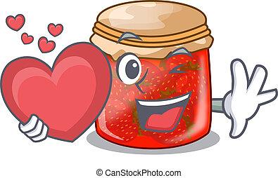 With heart fresh tasty strawberry jam on mascot vector...
