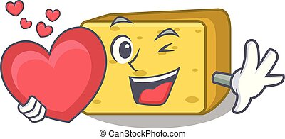 With heart gouda cheese pieces cartoon