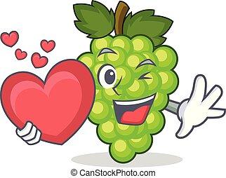 With heart green grapes mascot cartoon