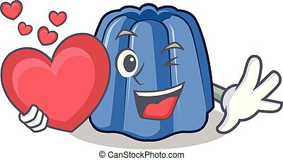 With heart jelly character cartoon style