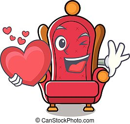 With heart king throne mascot cartoon