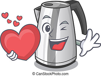With heart kitchen electric kettle on a mascot