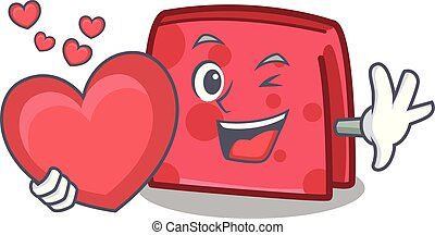 With heart napkin character cartoon style
