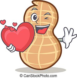 With heart peanut character cartoon style