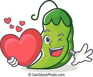 With heart peas mascot cartoon style