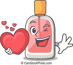 With heart perfume bottle on the character table vector...