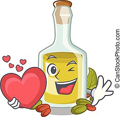 With heart Pistachio oil in a character bottle