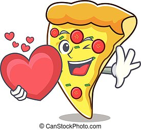 With heart pizza slice mascot cartoon
