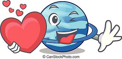 With heart planet uranus in the cartoon form vector...