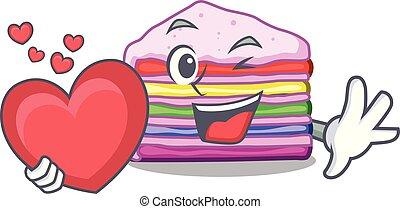With heart rainbow cake in the cartoon shape