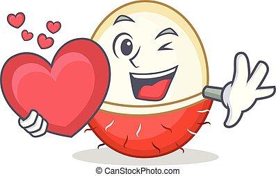 With heart rambutan mascot cartoon style
