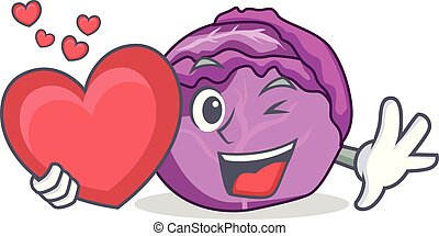 With heart red cabbage mascot cartoon