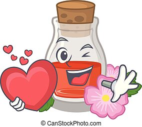 With heart rose seed oil the cartoon shape