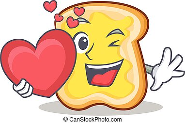 With heart slice bread cartoon character vector art...