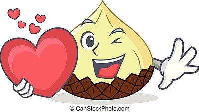With heart snake fruit mascot cartoon