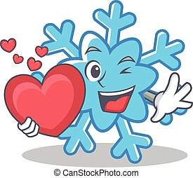 With heart snowflake character cartoon style
