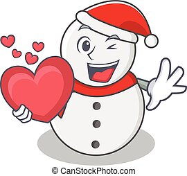 With heart snowman character cartoon style