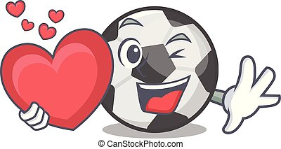 With heart soccer ball in a cartoon basket