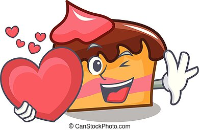 With heart sponge cake mascot cartoon