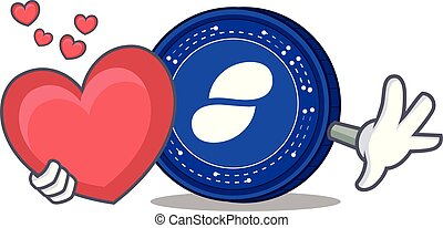 With heart Status coin mascot cartoon