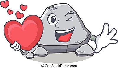 With heart stone character cartoon style