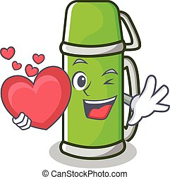 With heart thermos character cartoon style