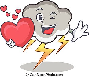 With heart thunder cloud character cartoon
