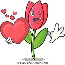 With heart tulip mascot cartoon style