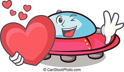 With heart ufo mascot cartoon style