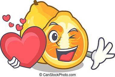 With heart ugli fruit in the cartoon fridge vector...