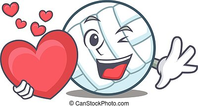 With heart volley ball character cartoon