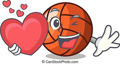 With heart volleyball mascot cartoon style