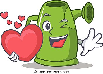 With heart watering can character cartoon