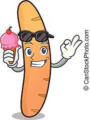 With ice cream baguette character cartoon style