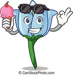 With ice cream bell flower character cartoon