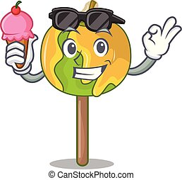 With ice cream candy apple character cartoon