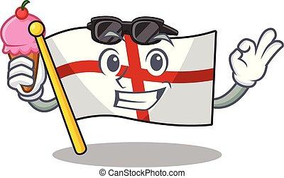 With ice cream flag england with the cartoon shape vector ...